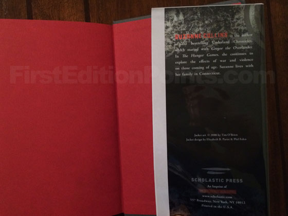 Picture of the back dust jacket flap for the first edition of The Hunger Games.