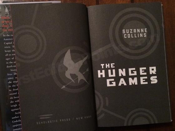 Picture of the first edition title page for The Hunger Games.