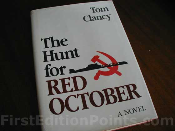 Picture of the 1984 first edition dust jacket for The Hunt for Red October.