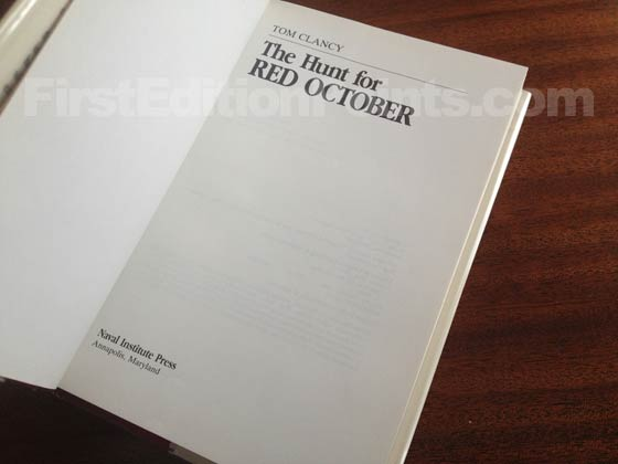 This is the title page for the first edition of The Hunt for Red October.