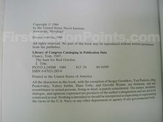This is the copyright page from the second printing.