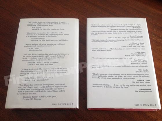 The dust jacket on the left is from the first edition of The Hunt for Red October. Notice