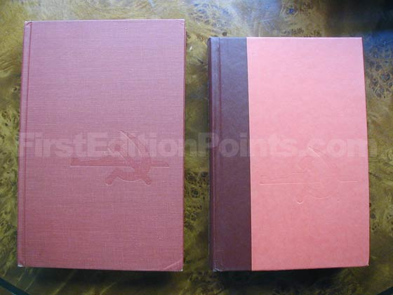 The first edition of The Hunt for Red October is fully bound in red cloth, while the book