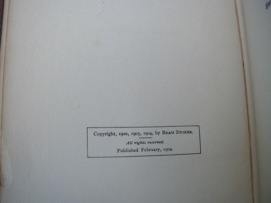 This is the copyright page from the first American edition.