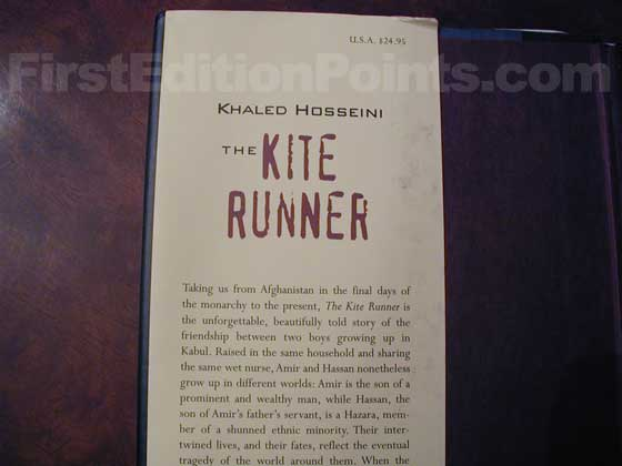 Picture of dust jacket where original $24.95 price is found for The Kite Runner.