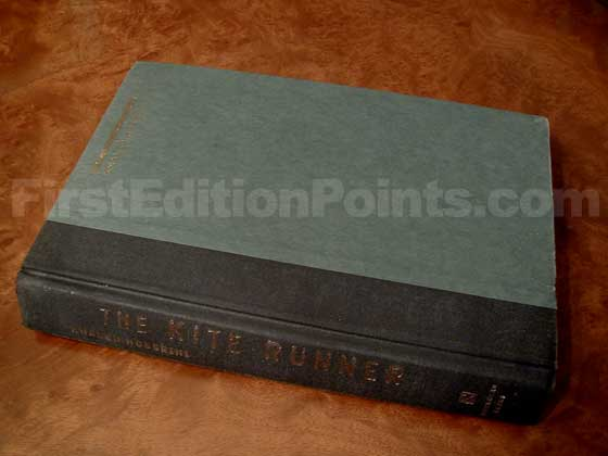 Picture of the first edition Riverhead Books boards for The Kite Runner.