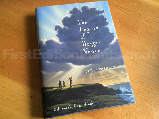 Picture of the 1995 first edition dust jacket for The Legend of Bagger Vance.