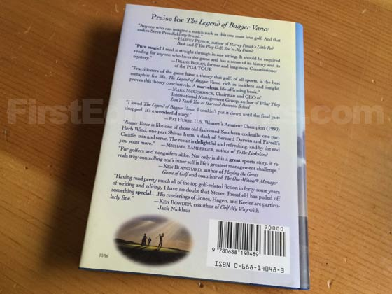 Picture of the back dust jacket for the first edition of The Legend of Bagger Vance.
