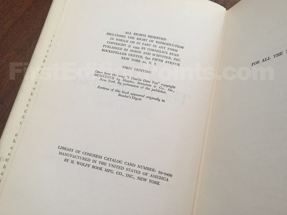 Picture of the first edition copyright page for The Longest Day.