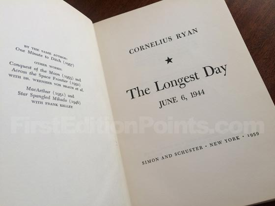 Picture of the first edition title page for The Longest Day.