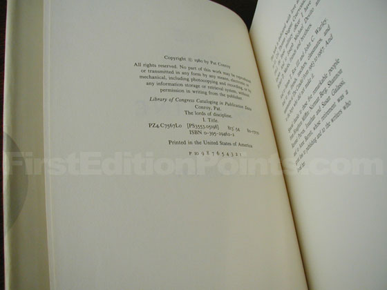 Picture of the first edition copyright page for The Lords of Discipline.
