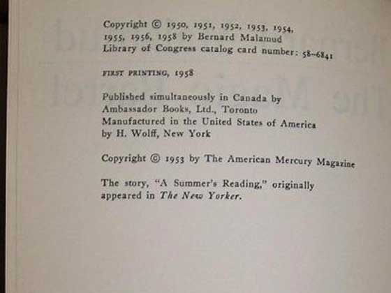 Picture of the first edition copyright page for The Magic Barrel.