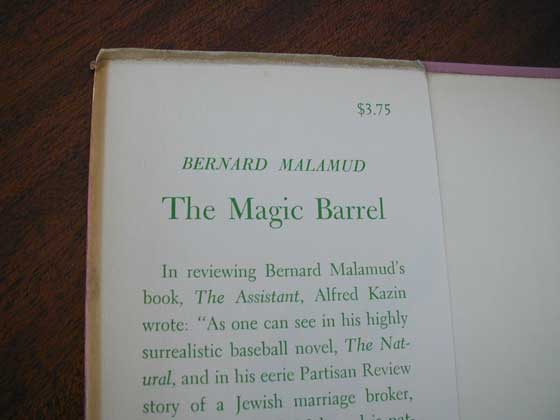 Picture of dust jacket where original $3.75  price is found for The Magic Barrel.