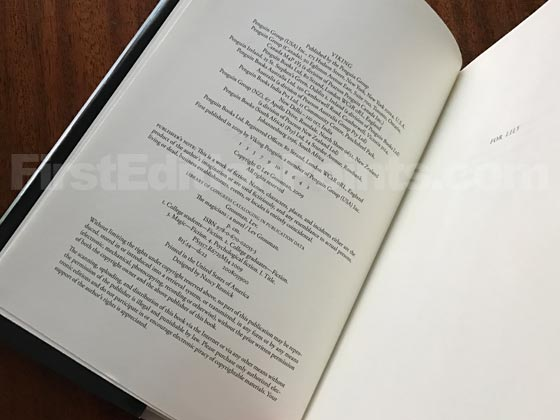 Picture of the first edition copyright page for The Magicians.