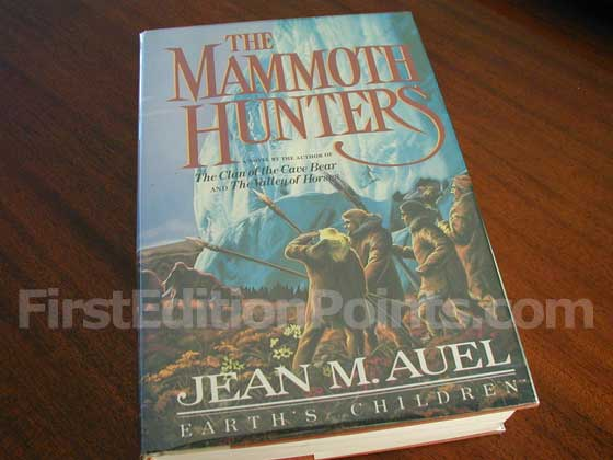 Picture of the 1985 first edition dust jacket for The Mammoth Hunters.