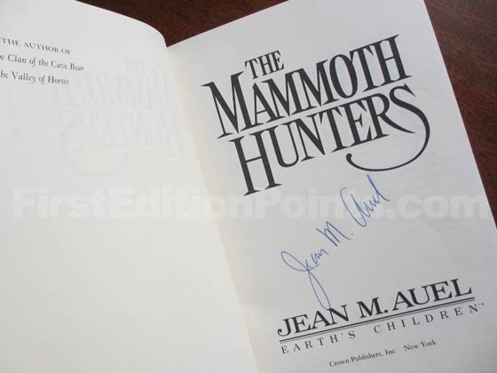 The author signed this first edition title page from The Mammoth Hunters.