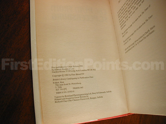 Picture of the first edition copyright page for The Man from St. Petersburg.