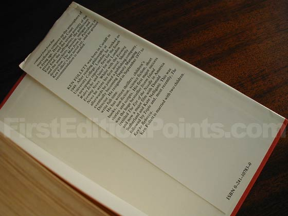 Picture of the back dust jacket flap for the first edition of The Man from St.