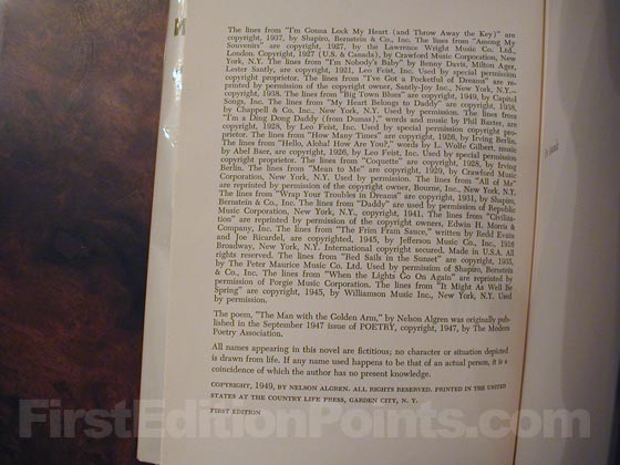 Picture of the first edition copyright page for The Man with the Golden Arm.
