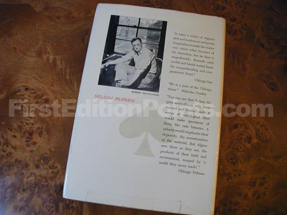Picture of the back dust jacket for the first edition of The Man with the Golden Arm.