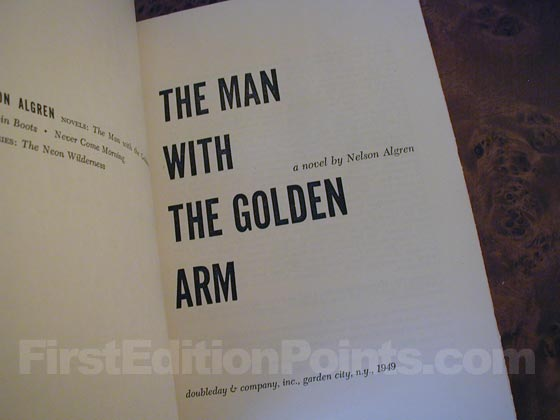 Picture of the title page for The Man with the Golden Arm.