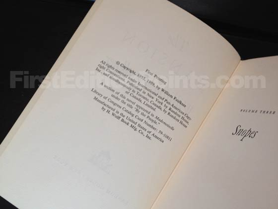 Picture of the first edition copyright page for The Mansion. Photo courtesy of Bryan