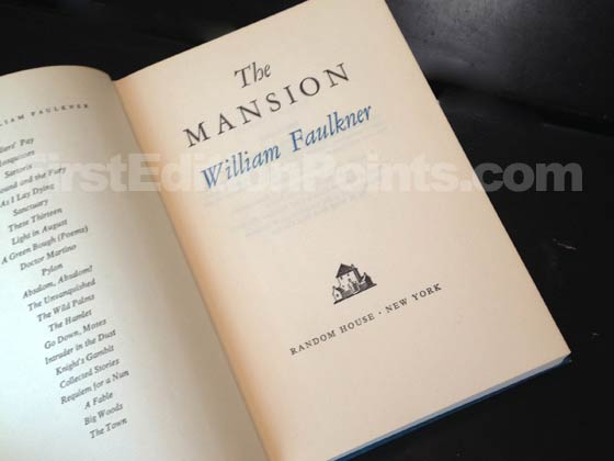 Picture of the first edition title page for The Mansion. Photo courtesy of Bryan Fr
