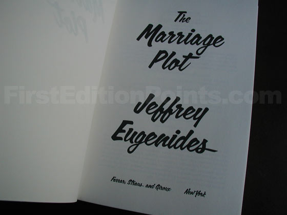 Picture of the first edition title page for The Marriage Plot.