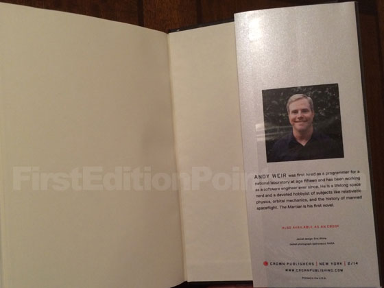 Picture of the back dust jacket flap for the first edition of The Martian.