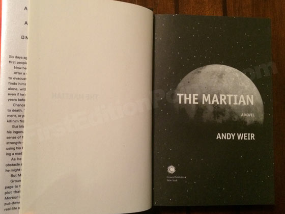 Picture of the first edition title page for The Martian.