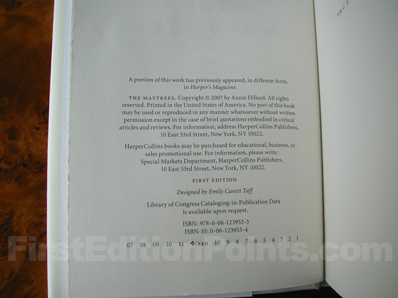 Picture of the first edition copyright page for The Maytrees.