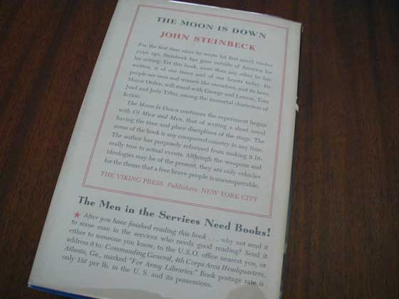 Picture of the back dust jacket for the first edition of The Moon is Down.