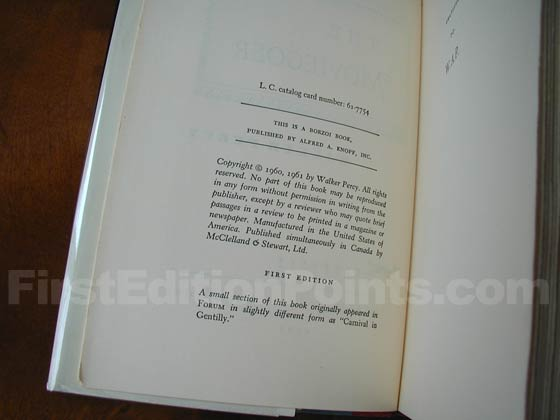 Picture of the first edition copyright page for The Moviegoer.