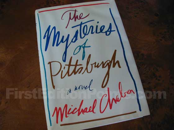 Picture of the 1988 first edition dust jacket for The Mysteries of Pittsburgh.