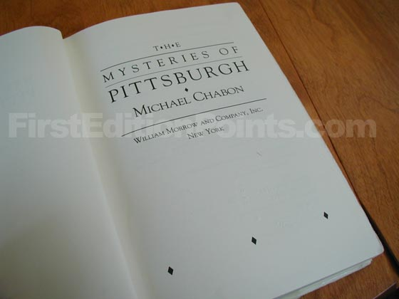 Picture of the first edition title page for The Mysteries of Pittsburgh.