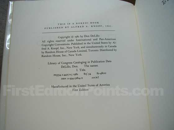 Picture of the first edition copyright page for The Names.
