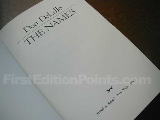 Picture of the first edition title page for The Names.