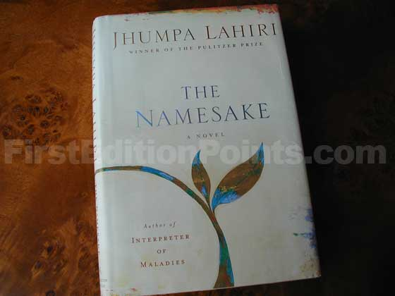 Picture of the 2003 first edition dust jacket for The Namesake.