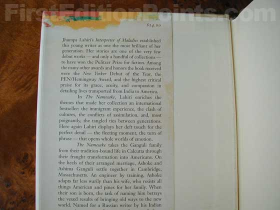 Picture of dust jacket where original $24.00 price is found for The Namesake.