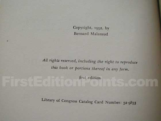 Picture of the first edition copyright page for The Natural.