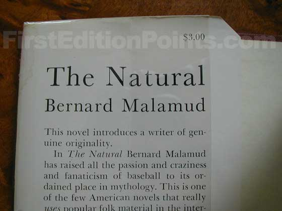Picture of dust jacket where original $3.00  price is found for The Natural.