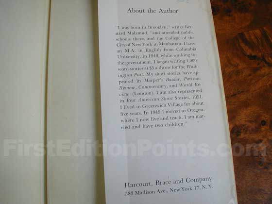 Picture of the back dust jacket flap for the first edition of The Natural.