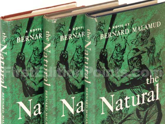 Here is a rare photo of three first editions of The Natural, each in the variant color