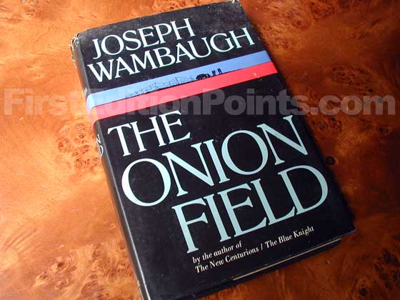 Picture of the 1973 first edition dust jacket for The Onion Field.