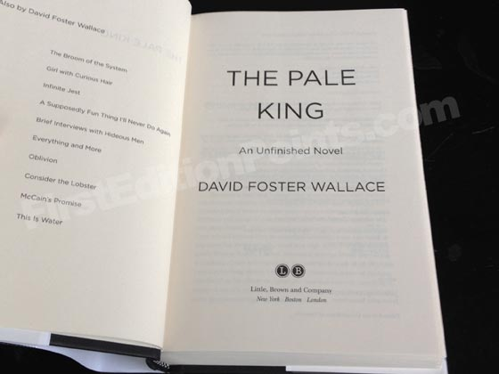 Picture of the first edition title page for The Pale King. Photo courtesy of Bryan