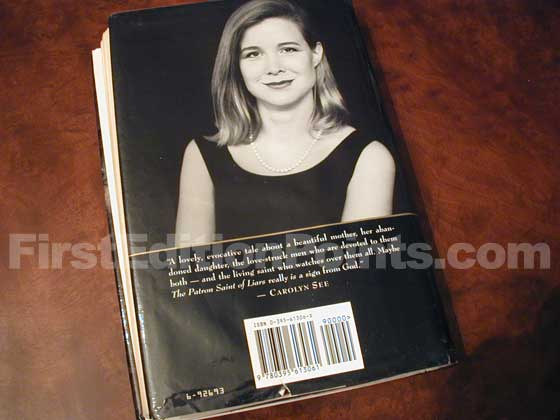 Picture of the back dust jacket for the first edition of The Patron Saint of Liars.
