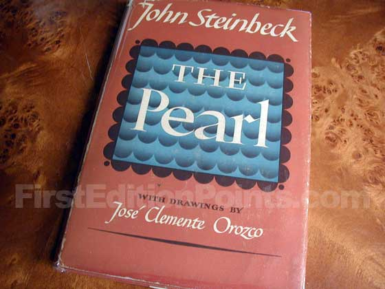 Picture of the 1947 first edition dust jacket for The Pearl.