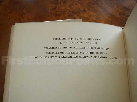 Picture of the first edition copyright page for The Pearl.