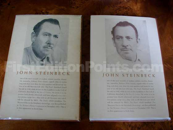 First issue dust jacket (on the left) has Steinbeck on the back panel looking toward his