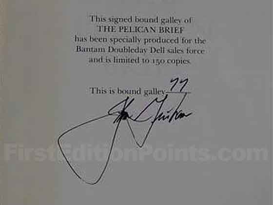 "This is the signature page from the bound galley.  It says ""This signed bound galley of"